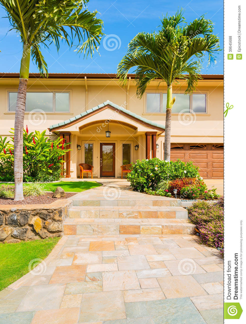Beautiful Exterior Home Design Trends: Beautiful Home Exterior Stock Photo. Image Of Landscape