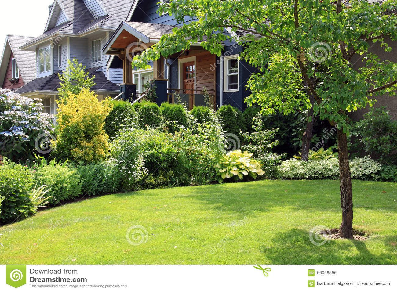 Beautiful home and garden stock photo image of front for Beautiful small home gardens