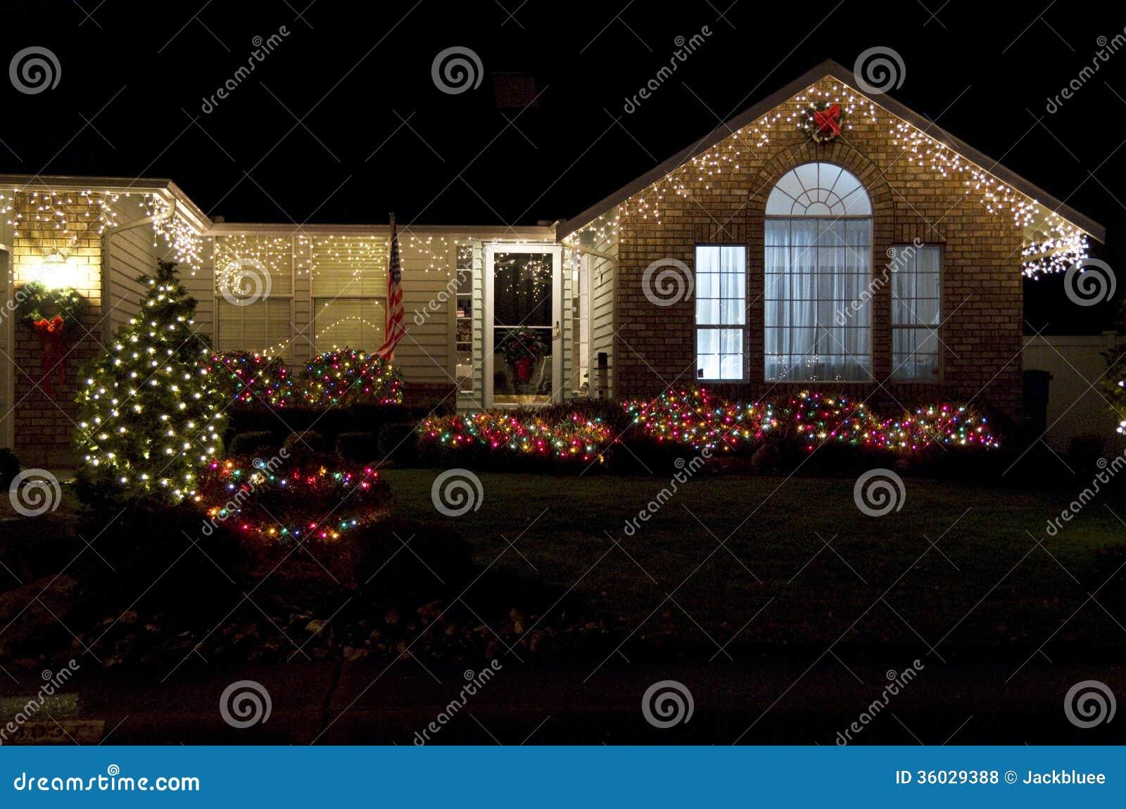 Beautiful Home House Christmas Lights Lighting Royalty