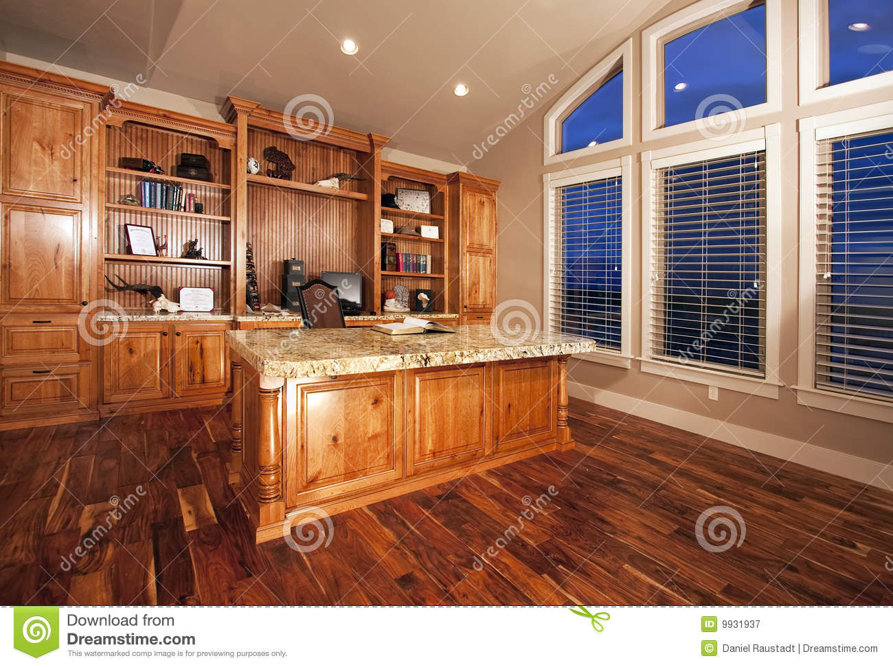 Beautiful Home Office With Wood Floors Royalty Free Stock ...
