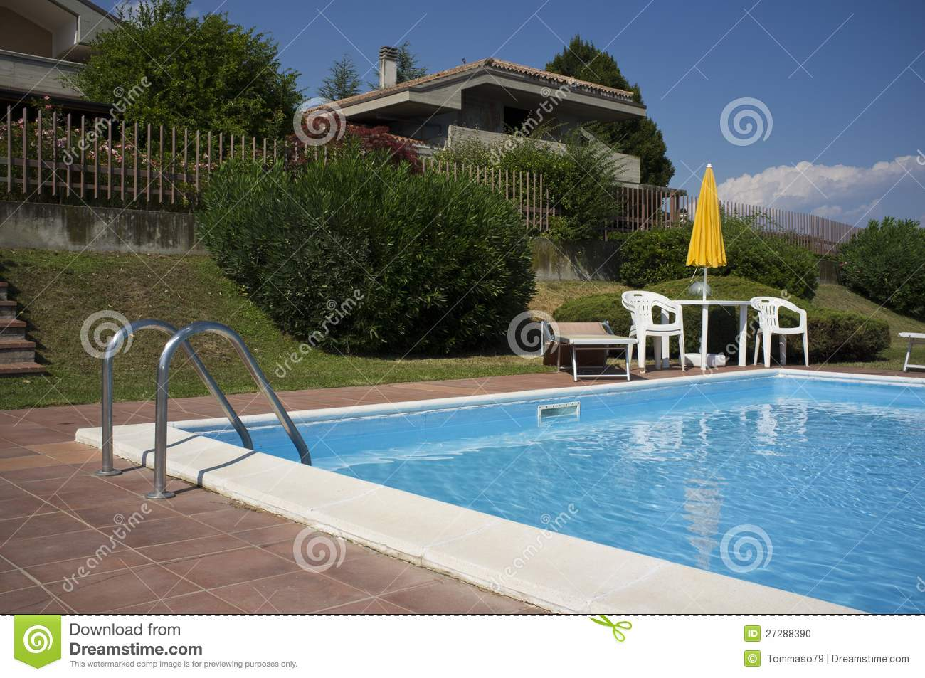 A beautiful home with swimming pool stock photo image for Pool time pools