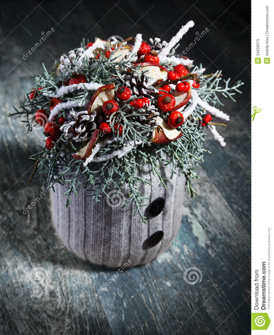 Beautiful Homemade Christmas Table Decoration Stock Image