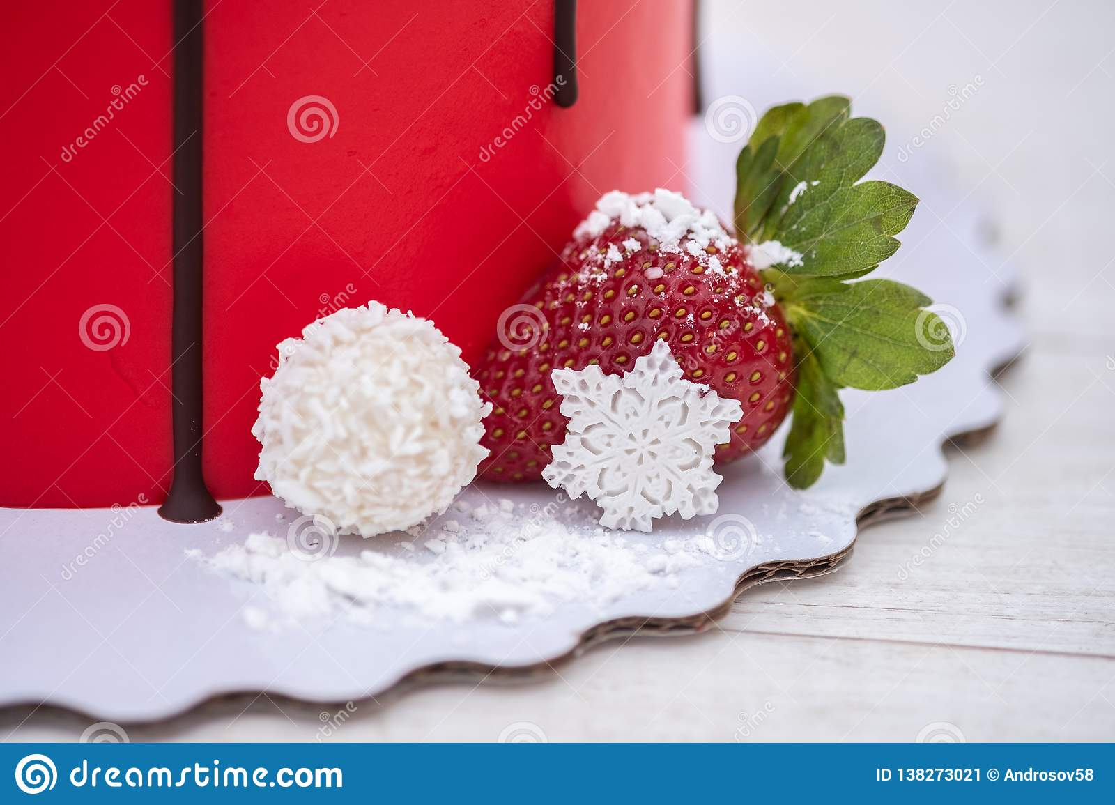 Beautiful Homemade Red Cake With Fresh Strawberry Berries On White Background