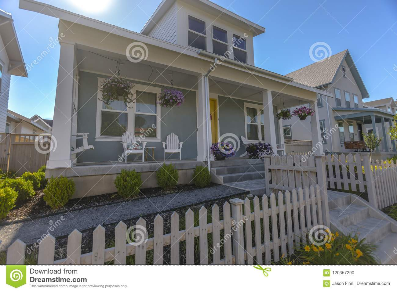 White Fences In Small Family Home Stock Photo Image Of Exterior