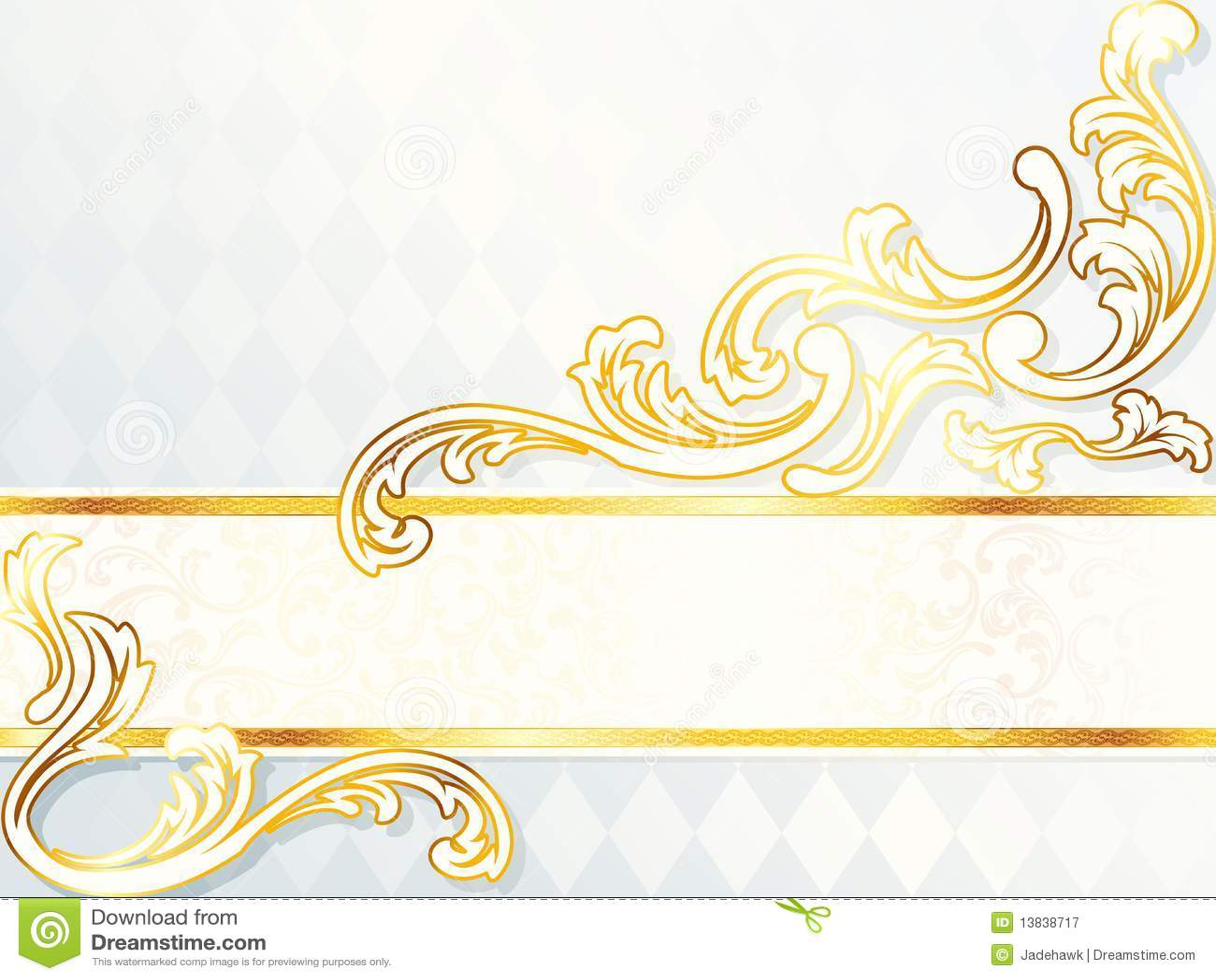 banner beautiful elegant gold horizontal rococo wedding