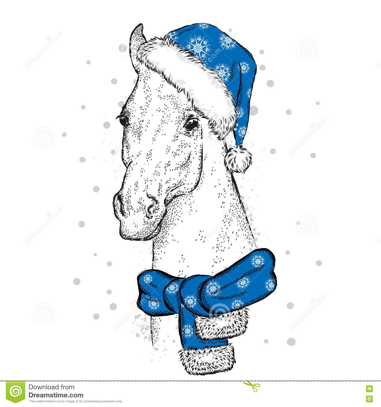 Beautiful Horse In A Christmas Hat And Scarf Santa Claus New Year S And Christmas Stock Vector Illustration Of Figure Design 81217373