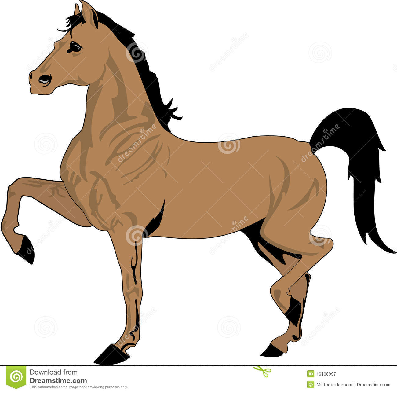 Beautiful Horse Drawing Color Stock Vector Illustration