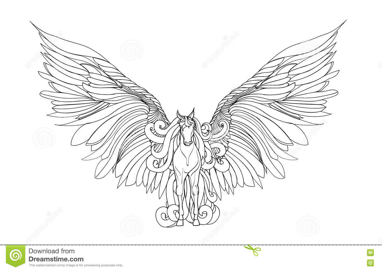 Beautiful Horse With Mane And Wings Pegasus Vector