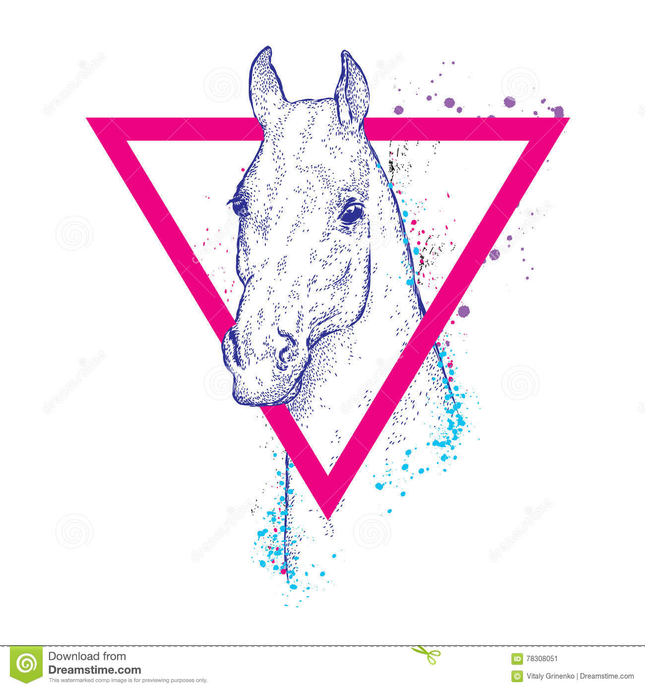 Beautiful Horse With A Triangle Fashion Style Hipster Han Stock