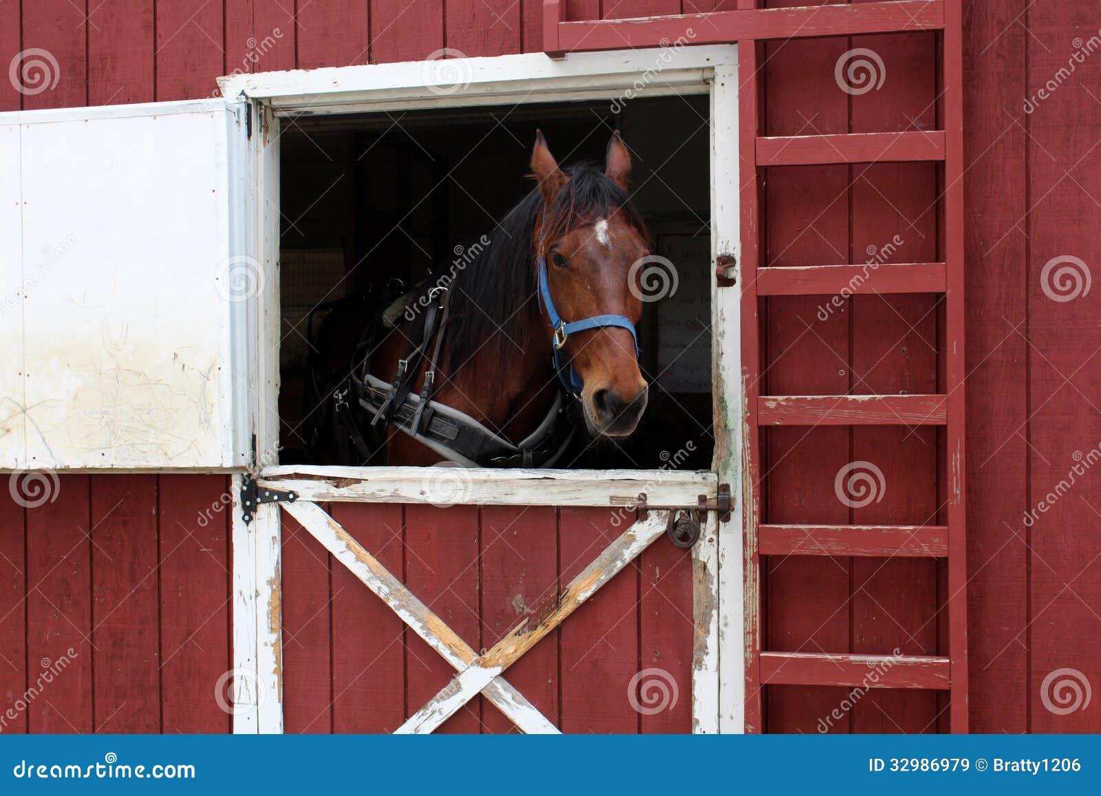 Open red barn doors - Barn
