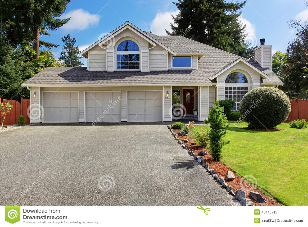 Beautiful house exterior with curb appeal stock photo for Garage in front of house