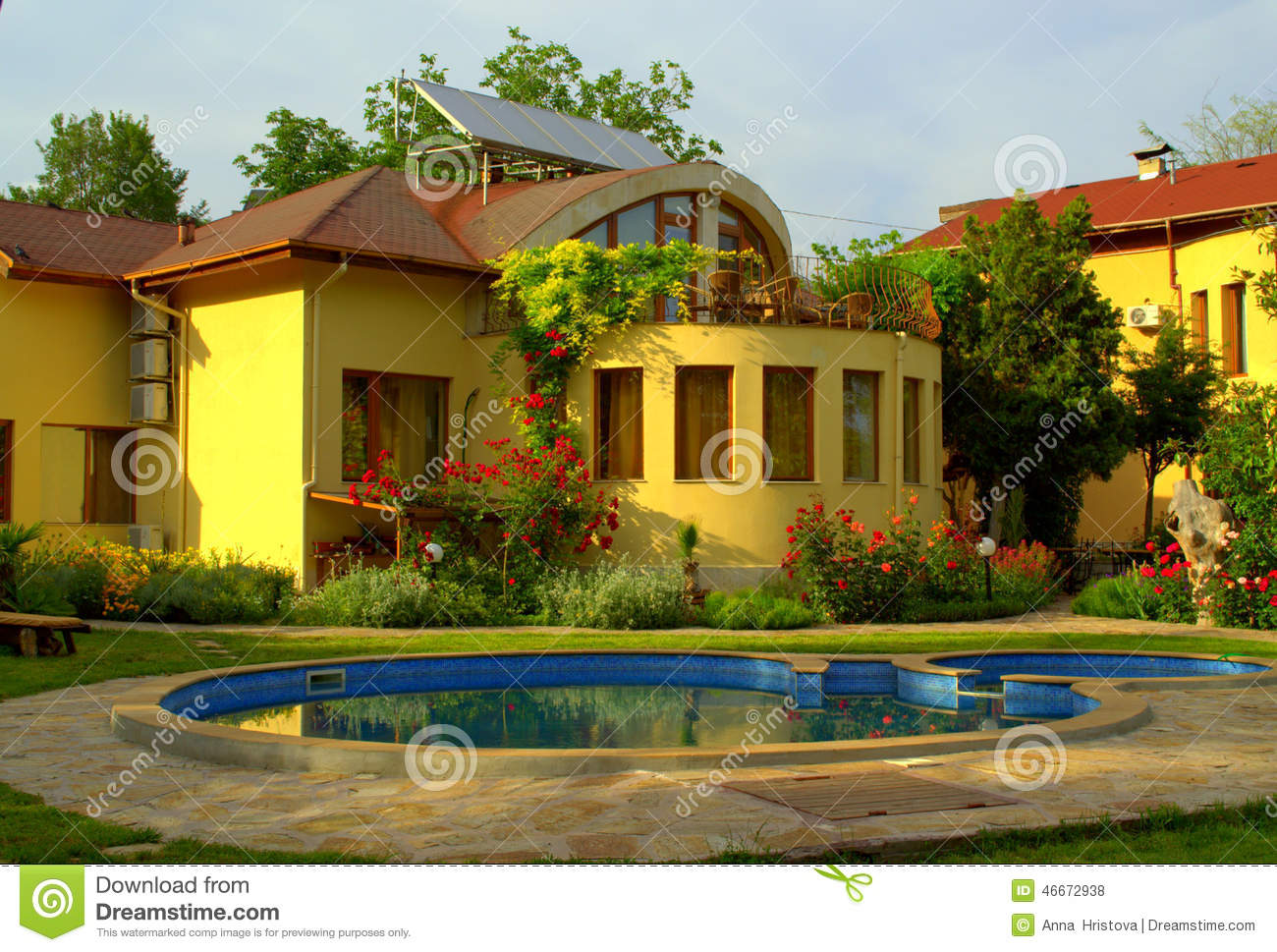 Beautiful house garden pool stock photo image of bright for Pool garden house