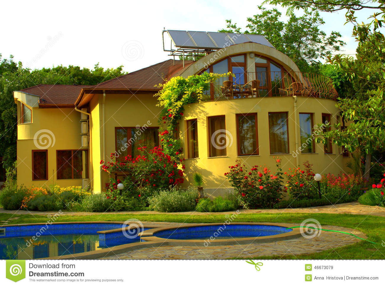 Beautiful house garden pool stock image image 46673079 for Pool and garden house plans