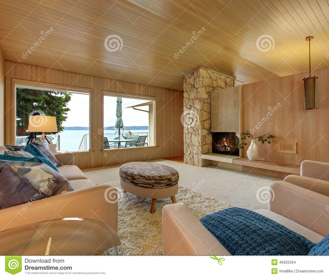 Beautiful House Interior With Wooden Plank Trim And