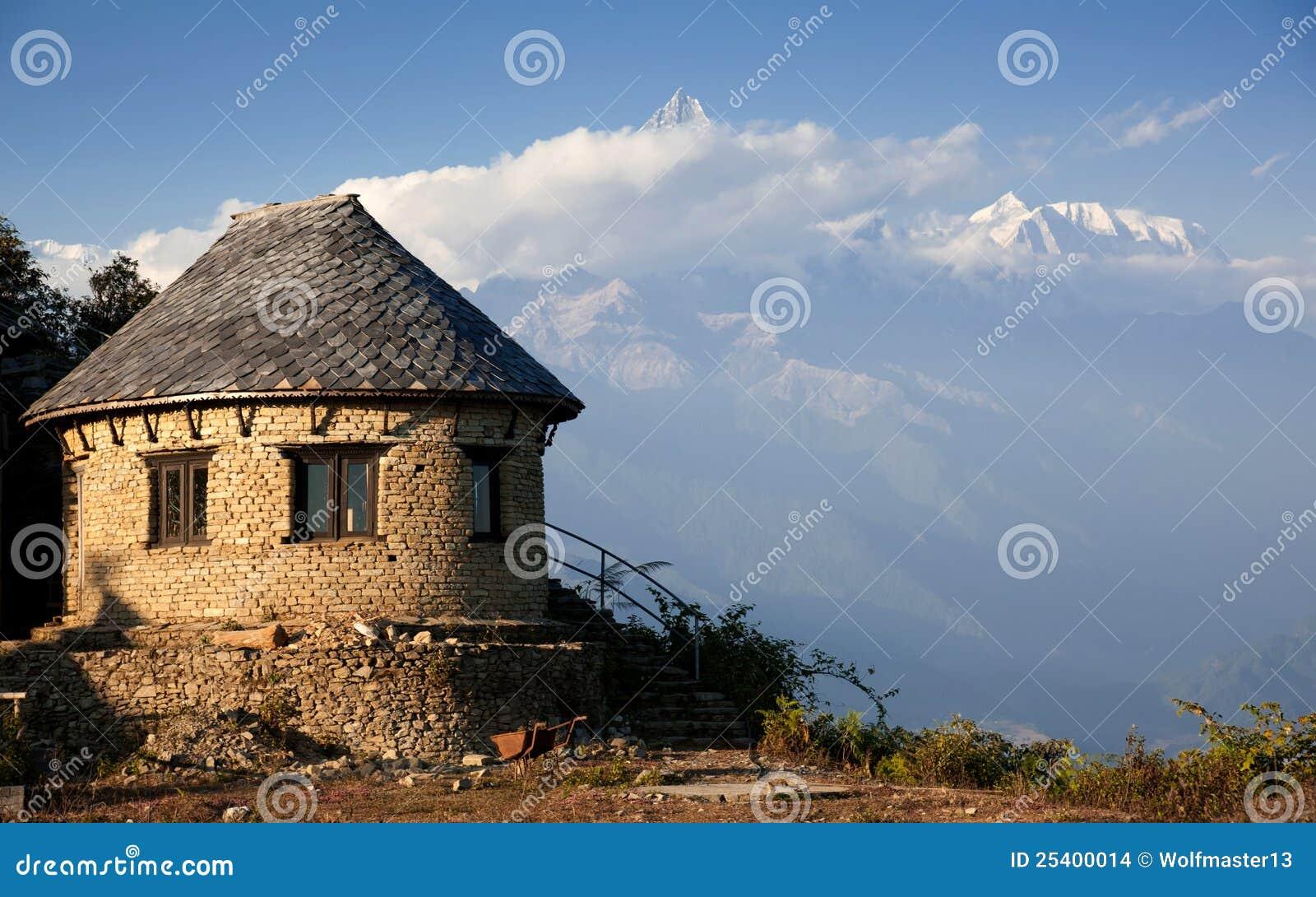Beautiful House Near Himalayan Mountains Stock Images