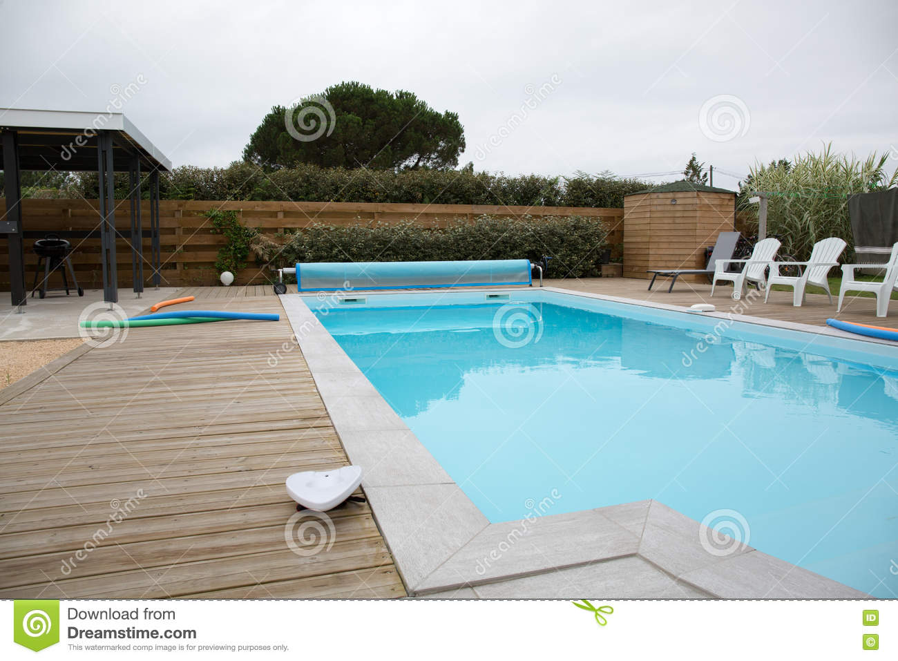 Download Beautiful House With Swimming Pool In The Yard Stock Image