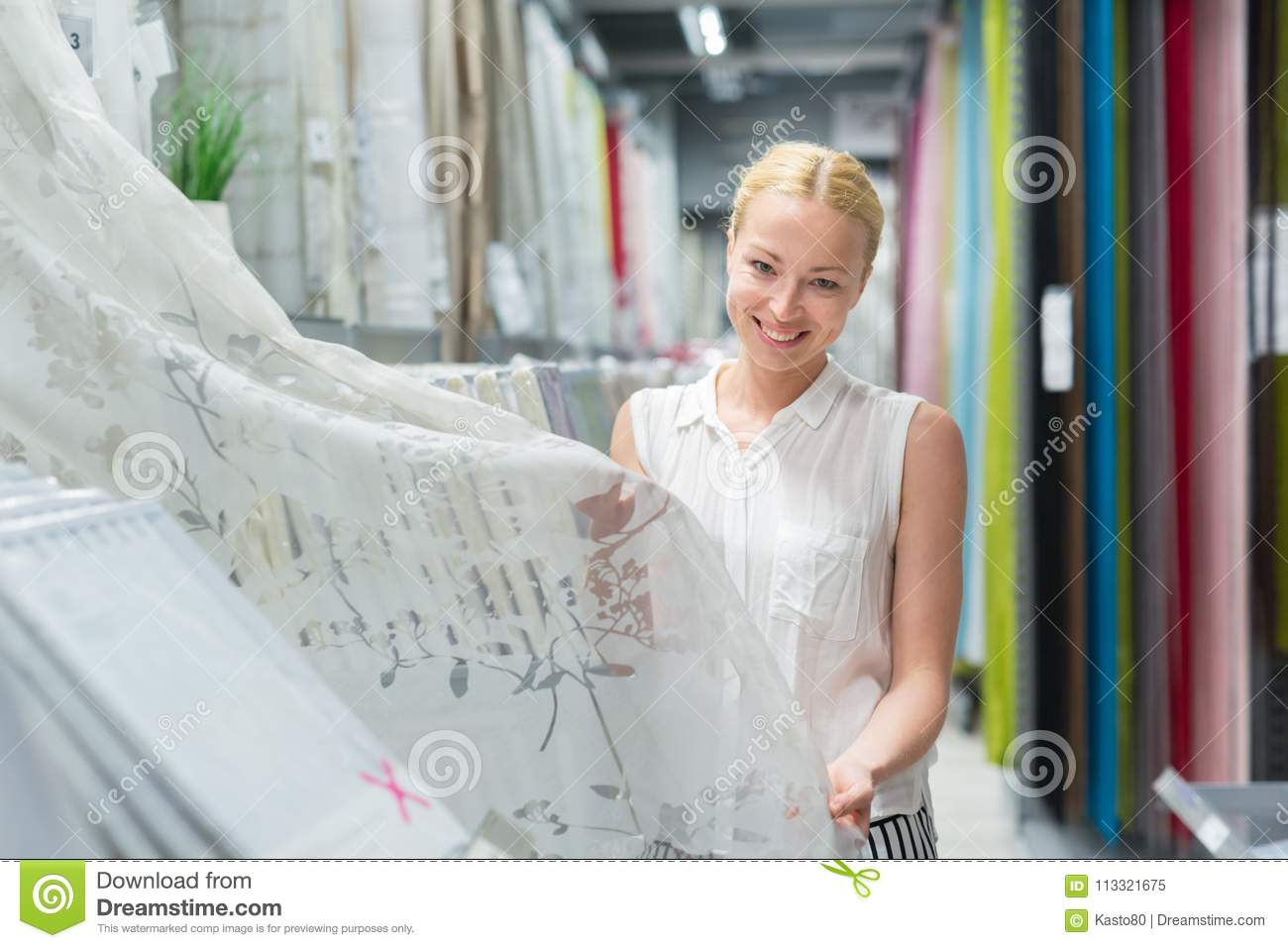 Beautiful Housewife Buying White Curtains In Home Decor Furnishings Store