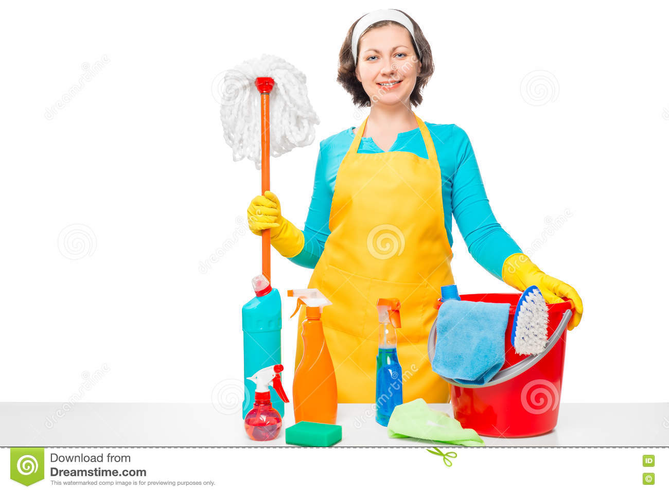 beautiful housewife with tools for house cleaning stock photo