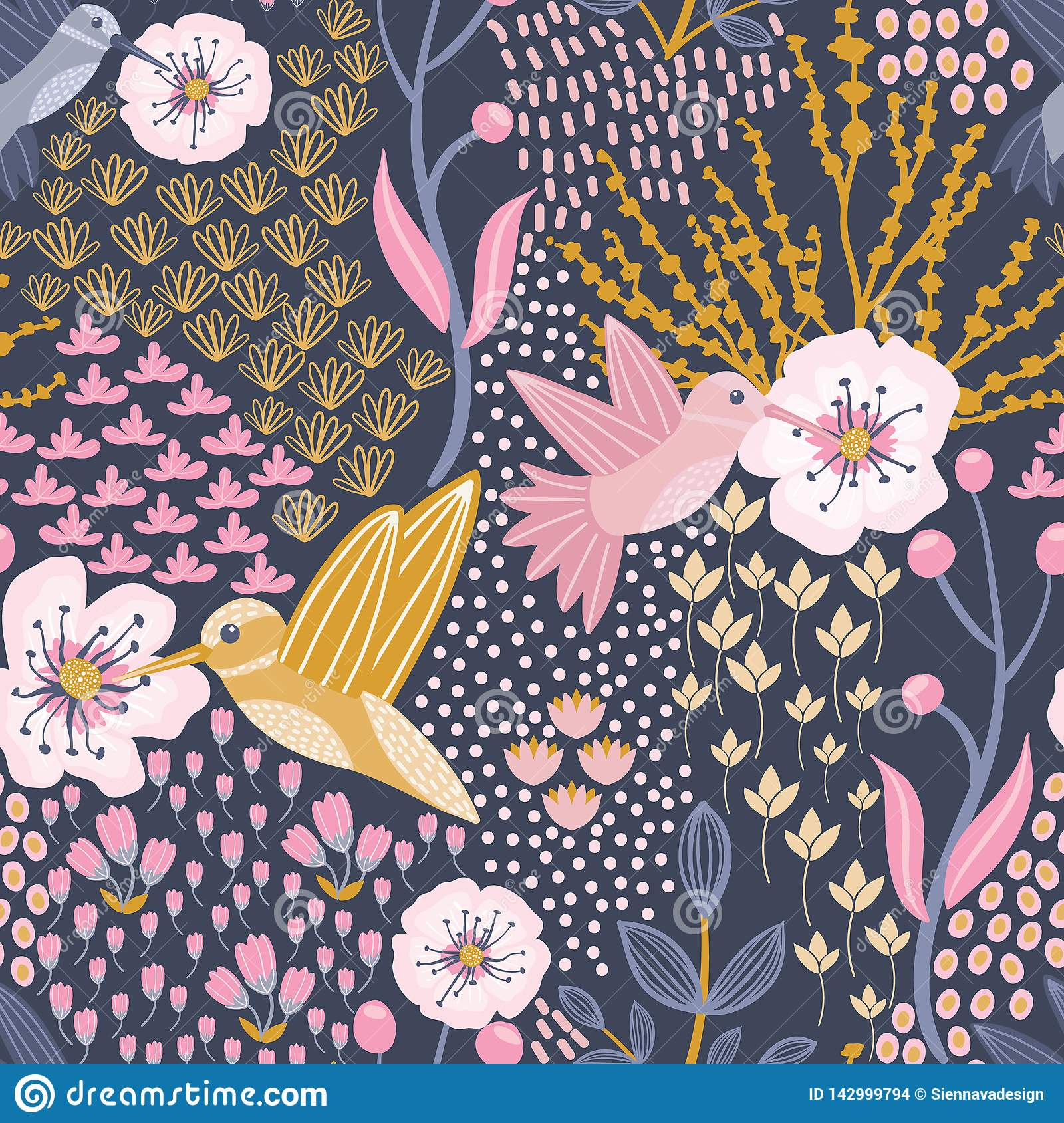 Hummingbird and Cherry Blossom Blue Background Seamless Pattern