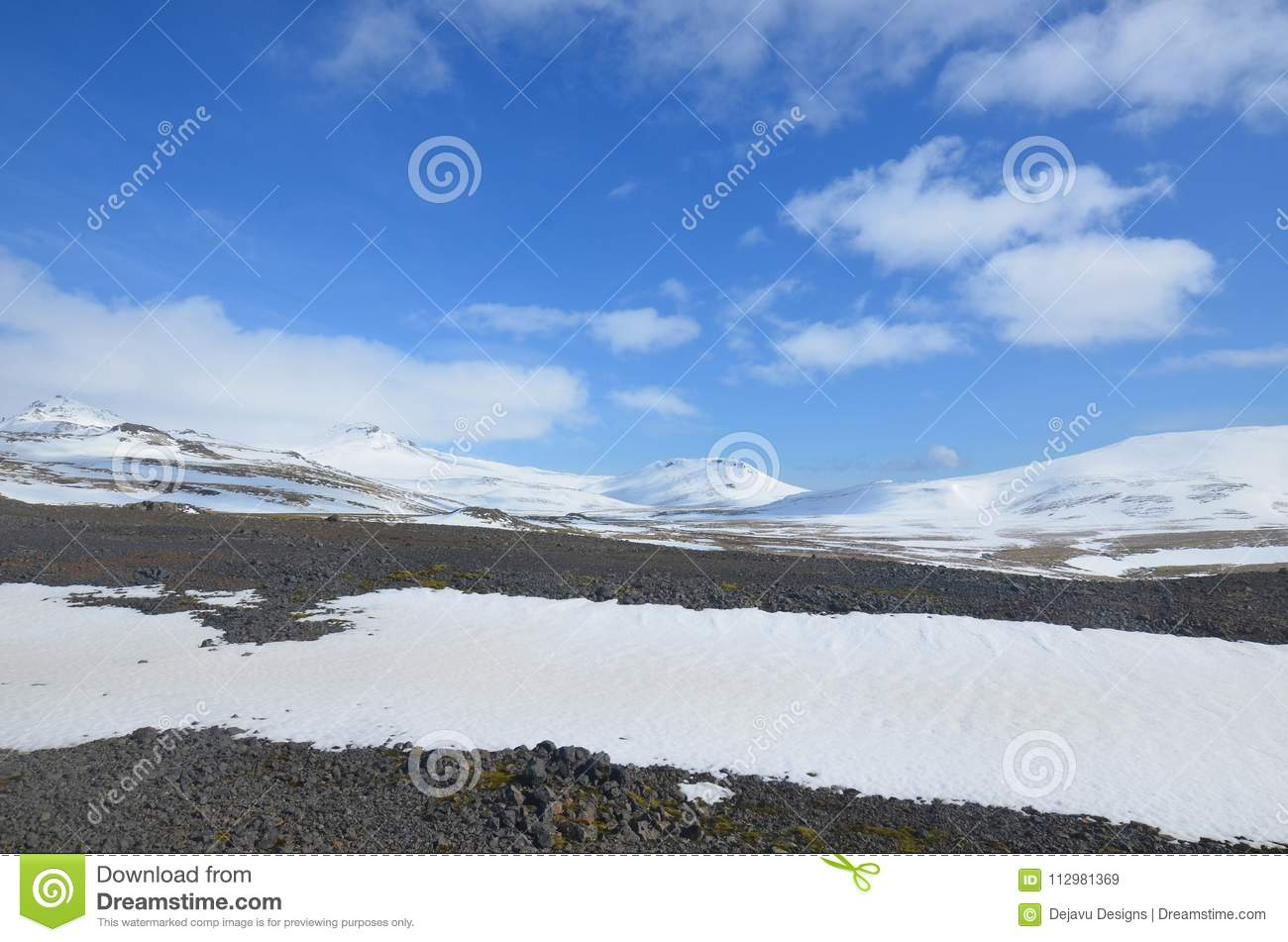 Beautiful Ice capped mountains in western Iceland