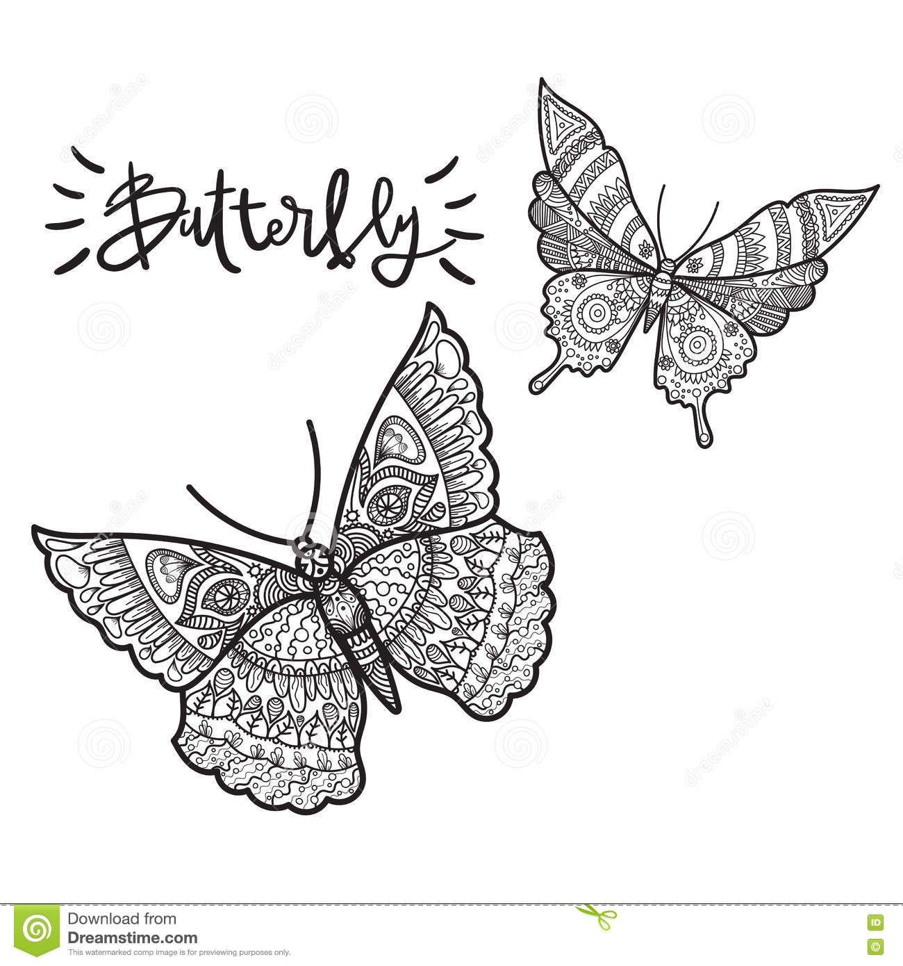 Beautiful illustration of butterfly on a whire background for Beautiful butterfly coloring pages