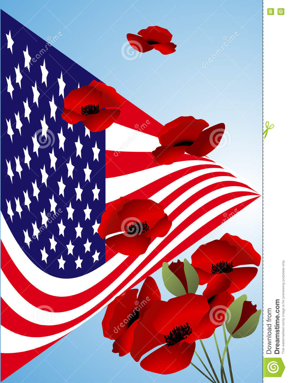 Beautiful Illustration By Memorial Day Usa Stock Vector