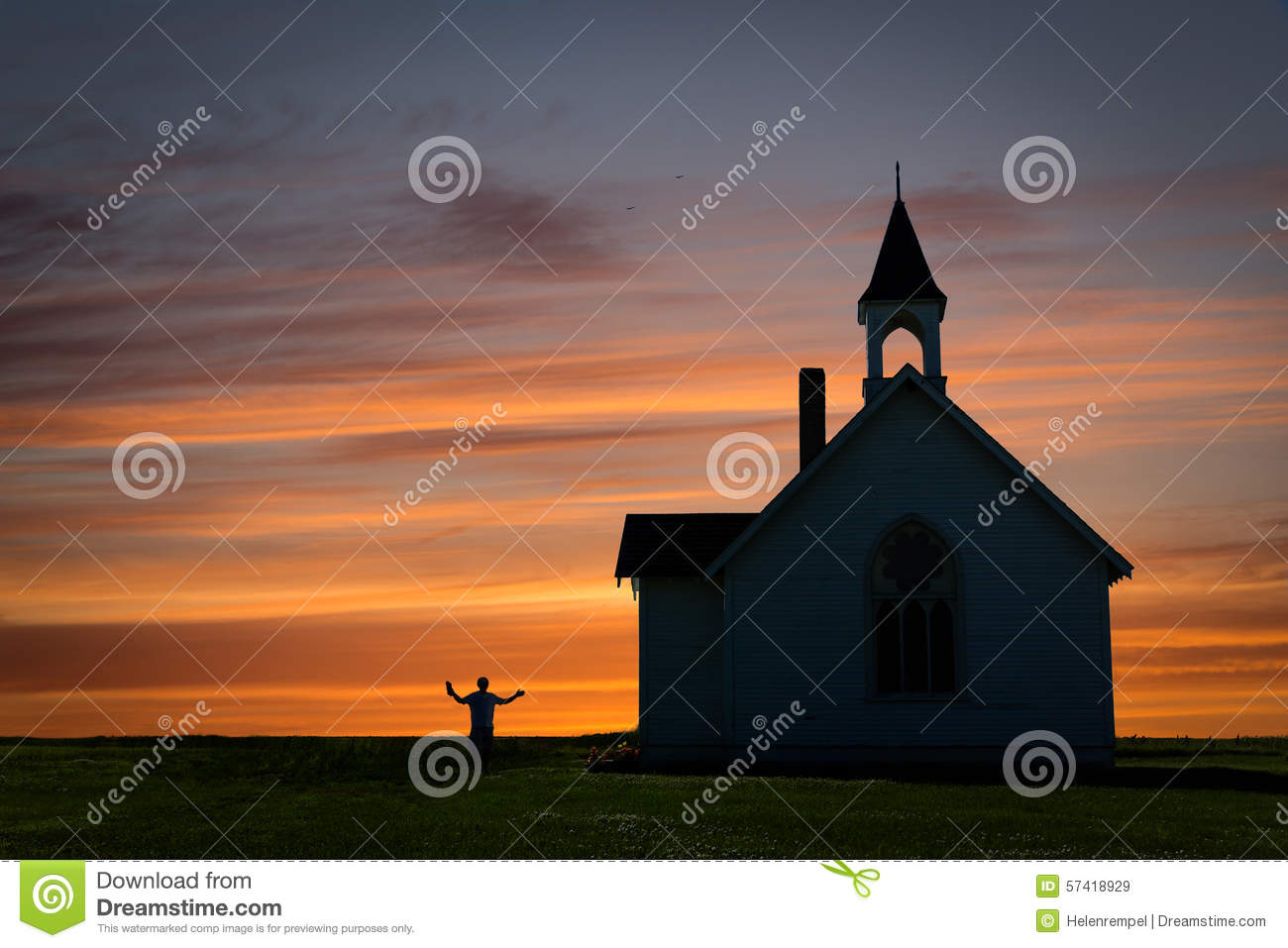 Beautiful Image Of A Church Silhouette Against Sunset Stock