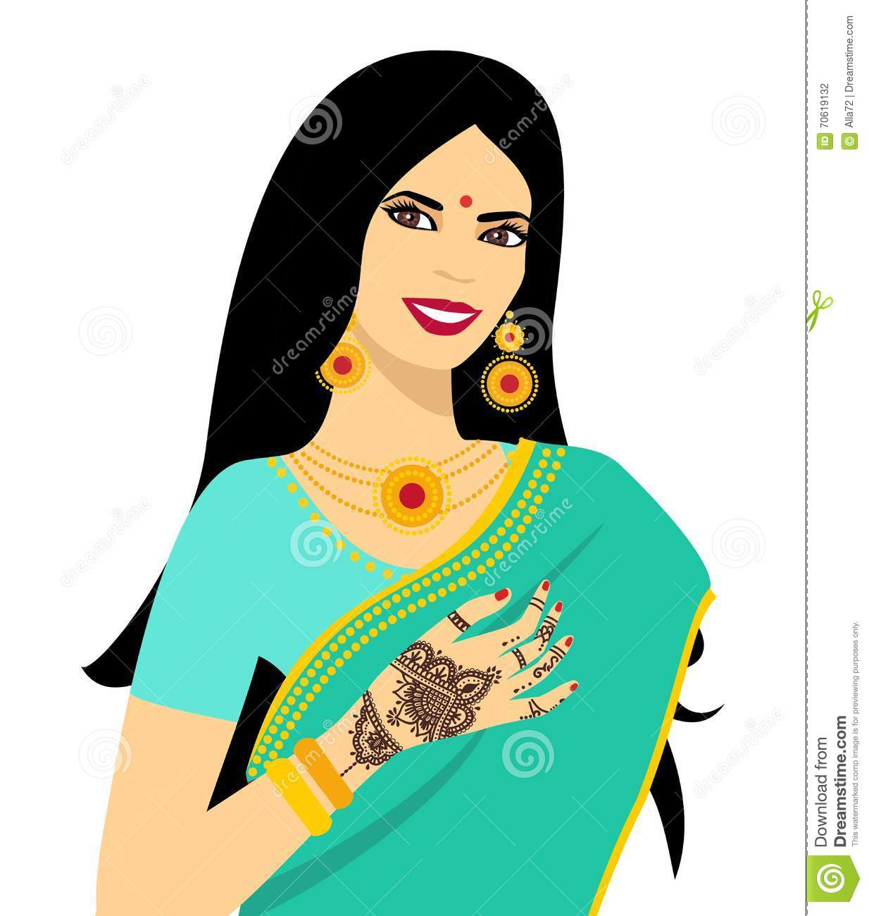 Mehndi Ceremony Clipart : Beautiful indian brunette young woman in sari hands with