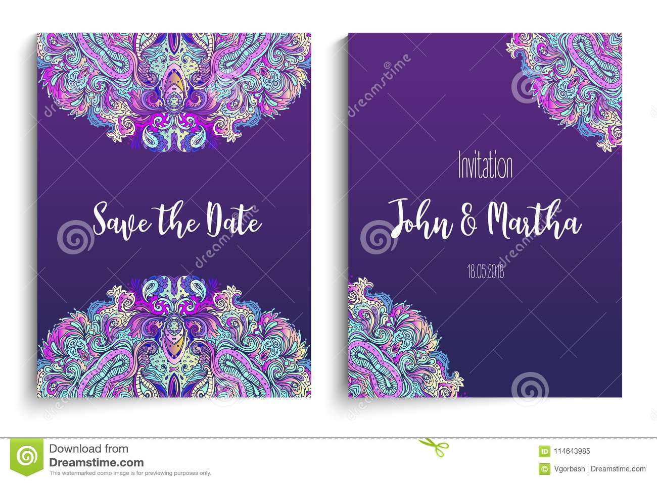 Beautiful Indian Floral Ornament For Wedding Invitation Save Th