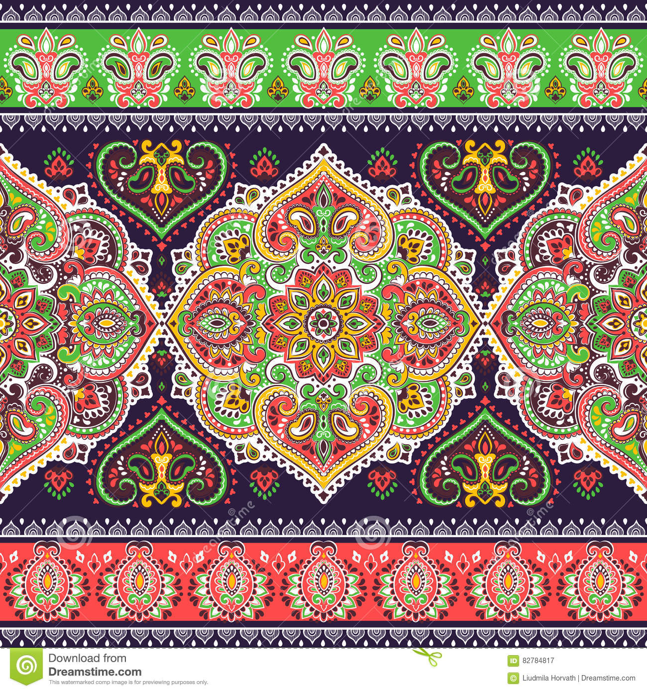 885cd0c5550ce Beautiful Indian floral paisley seamless ornament print. Ethnic Mandala  towel. Vector Henna tattoo style. Can be used for textile, greeting  business card ...
