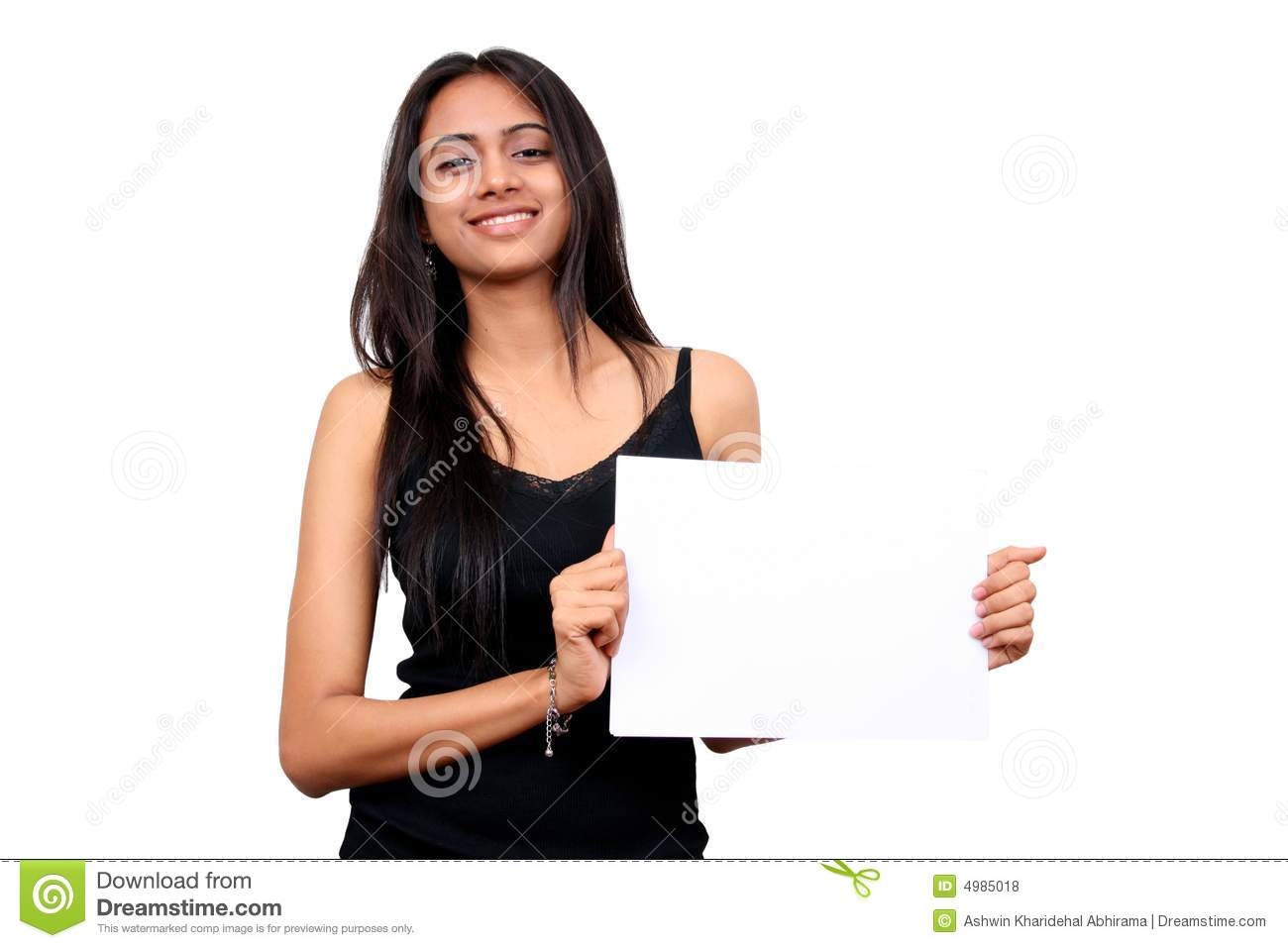Beautiful Indian Girl Holding A White Sign Royalty Free -5024