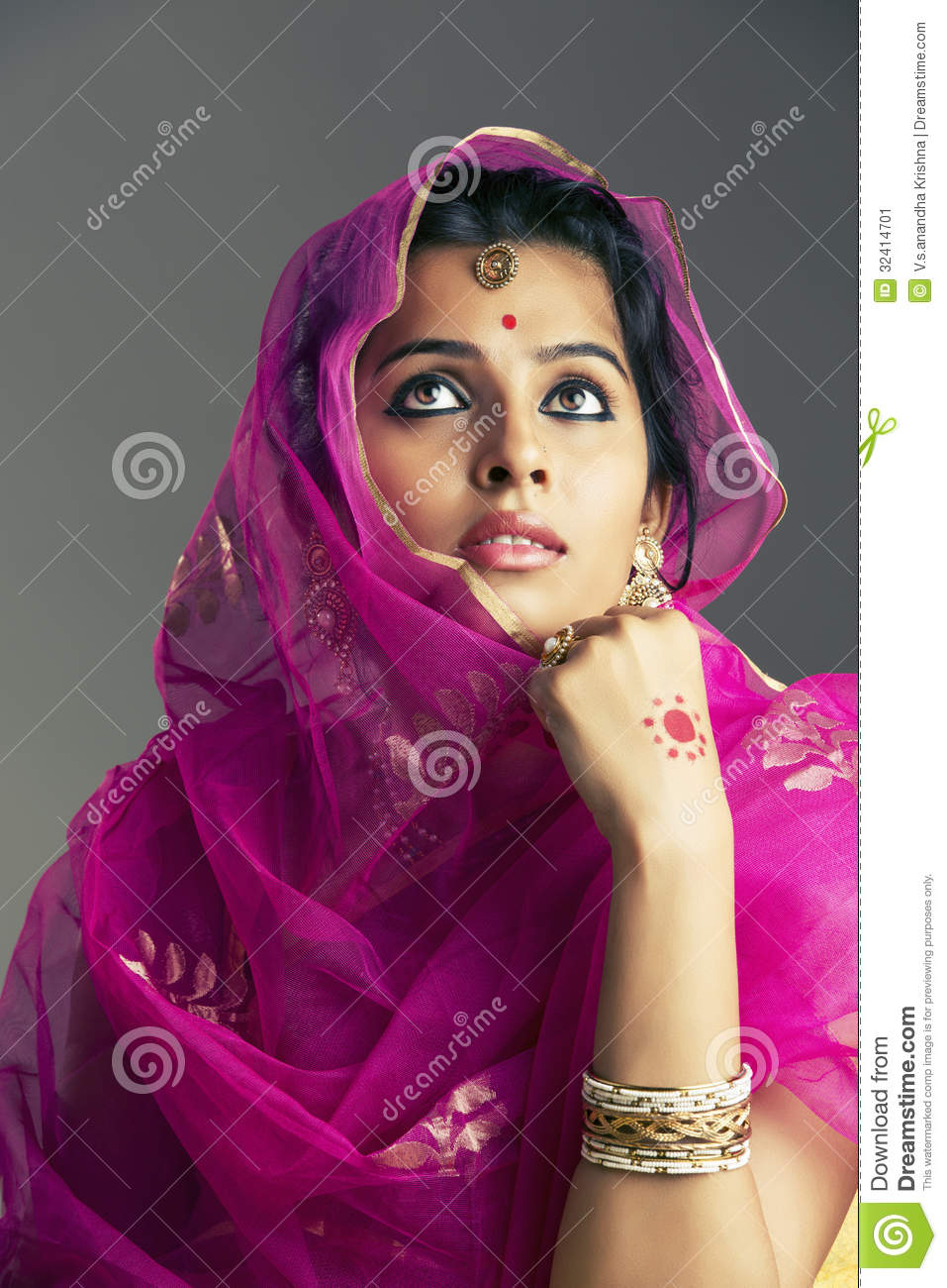 Https Www Dreamstime Com Stock Image Beautiful Indian Girl Looking Up Grey Background Image32414701