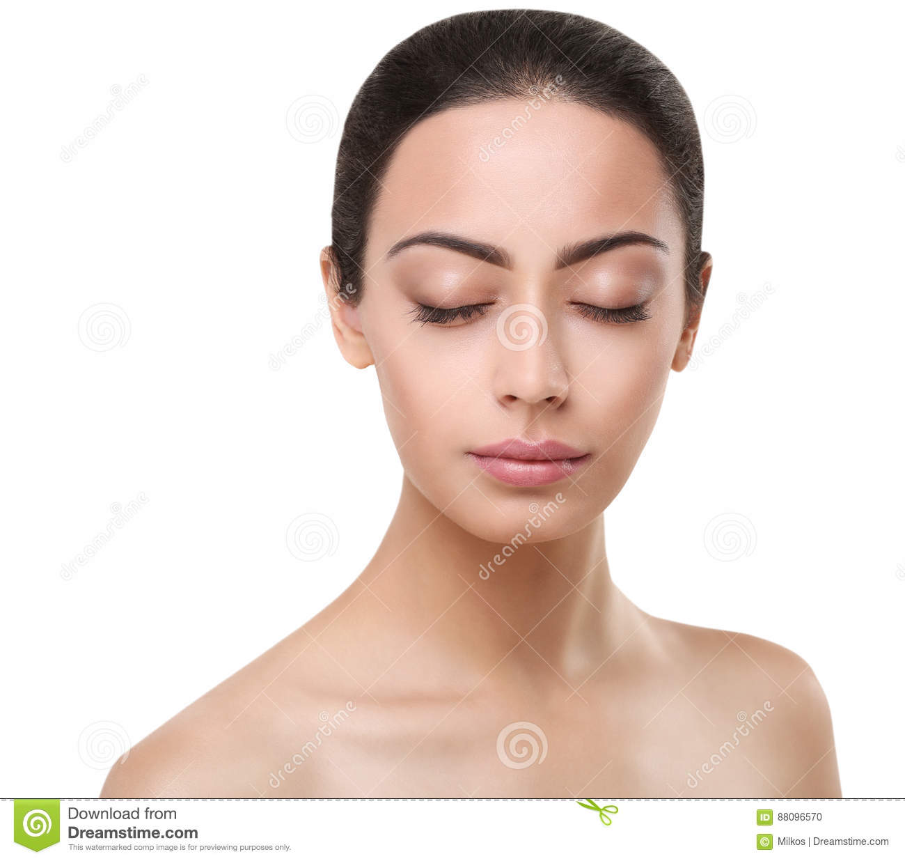 Beautiful Indian Girl Perfect Face With Closed Eyes Stock