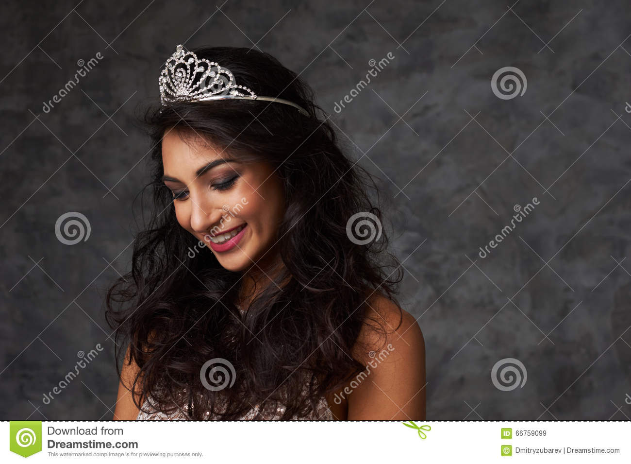 beautiful indian lady close up portrait with diadem stock