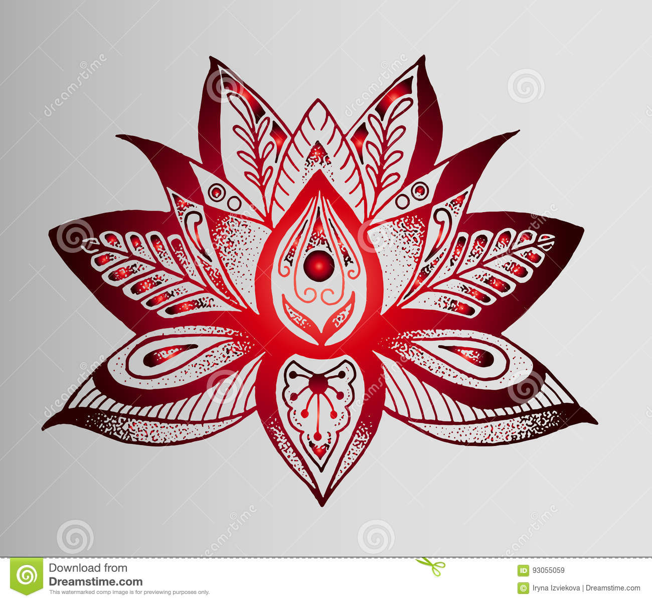 Beautiful indian sketch of tattoo red lotus flower stock vector red gradient sketch of a tattoo a lotus flower indian style meditation relaxation mightylinksfo