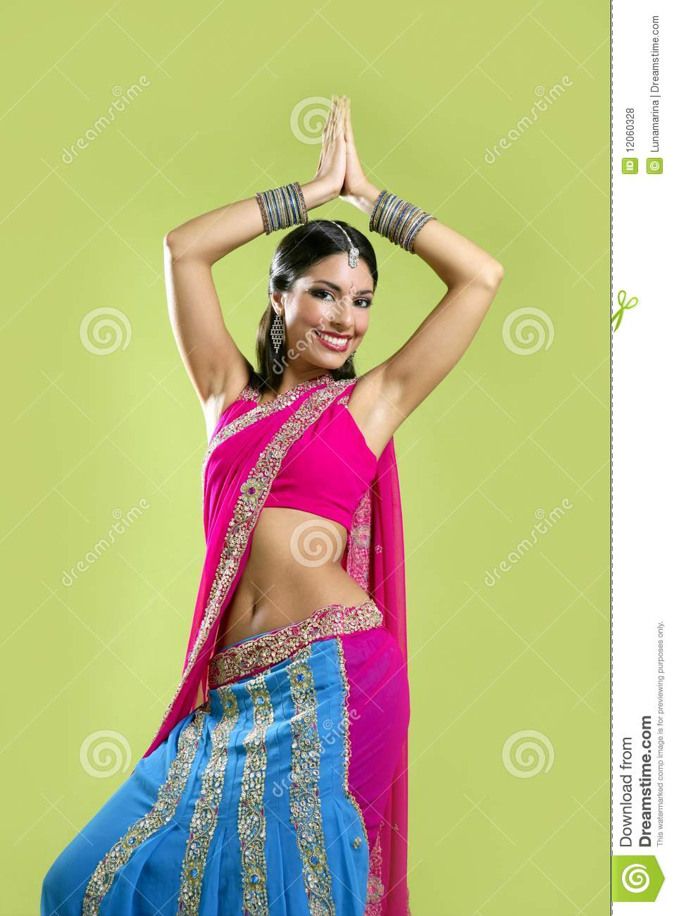 Beautiful Indian Young Brunette Woman Dancing Stock Photo