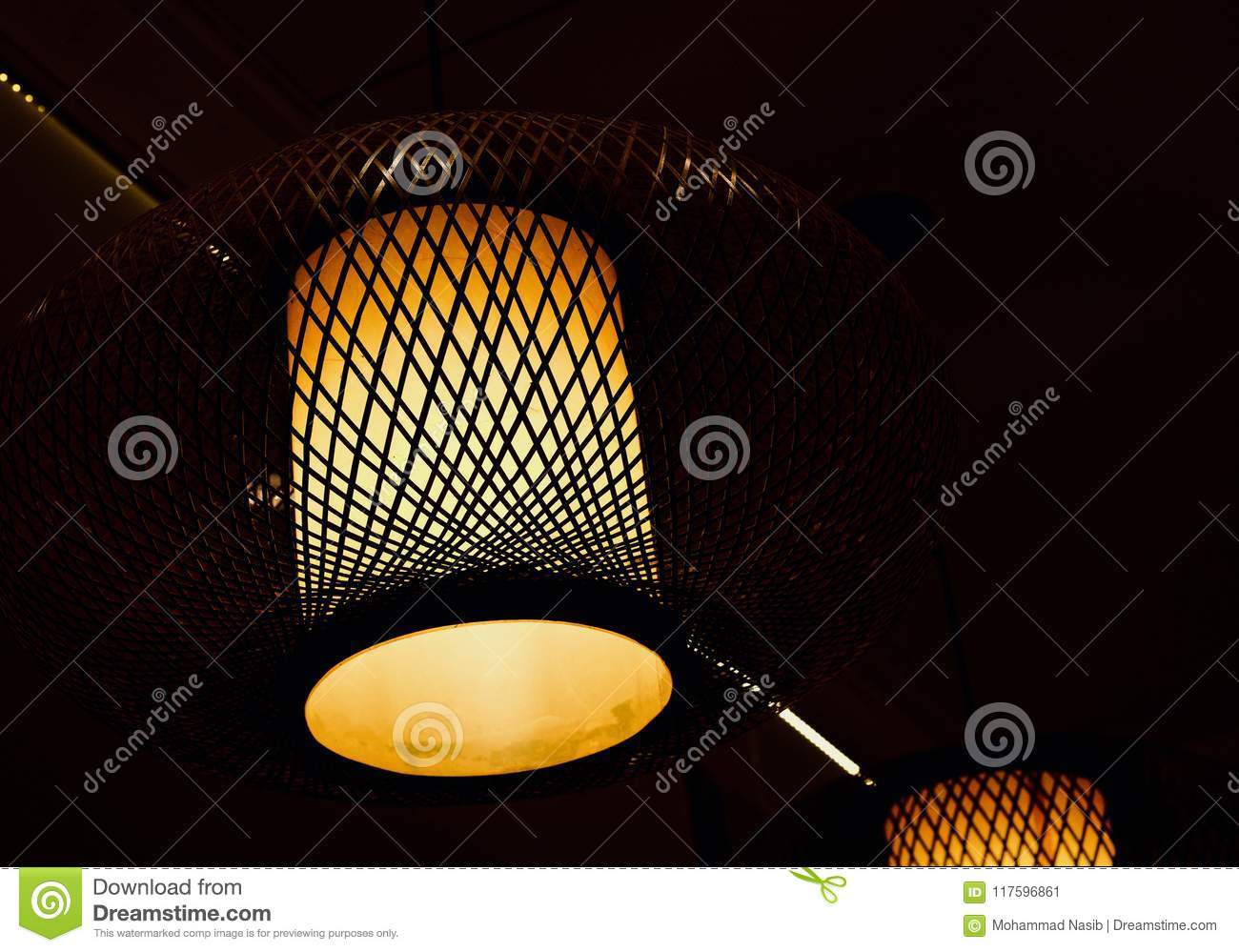 Download Stylish Interior Ceiling Lights Of A Restaurant Isolated Unique Photo Stock Image - Image of beautiful, restaurant: 117596861