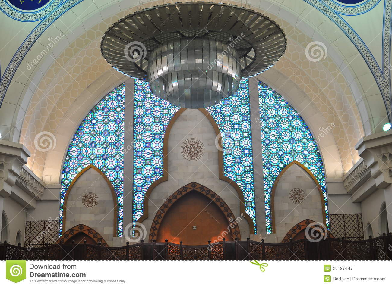 ... Stock Photography: The beautiful interior design of Wilayah mosque