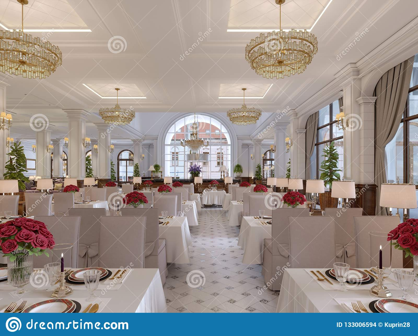 Beautiful Interior Of The Restaurant In A Modern Hotel With White ...