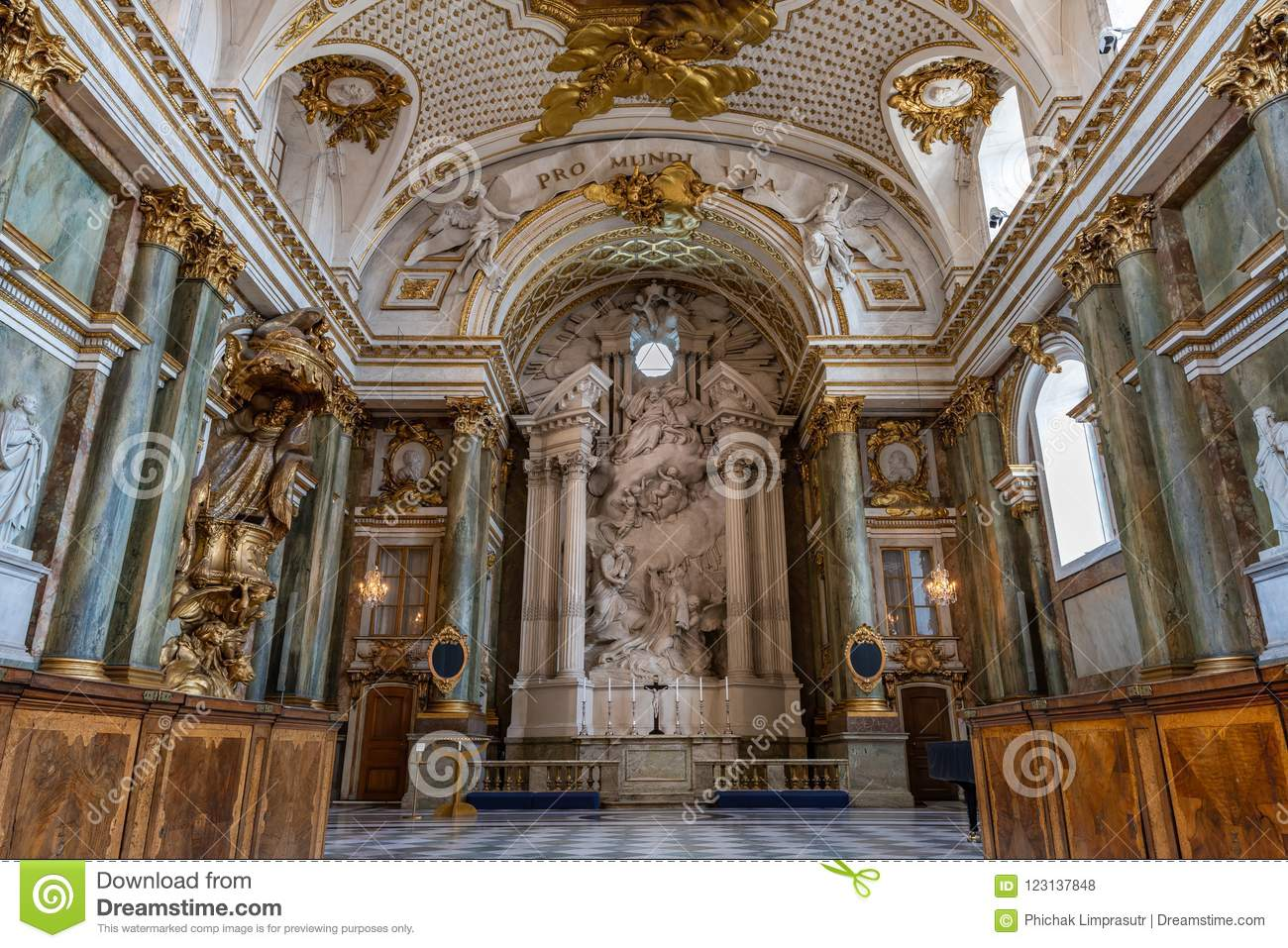 Stockholm sweden july 7 2018 the beautiful interior of royal chapel in the sweden royal palace