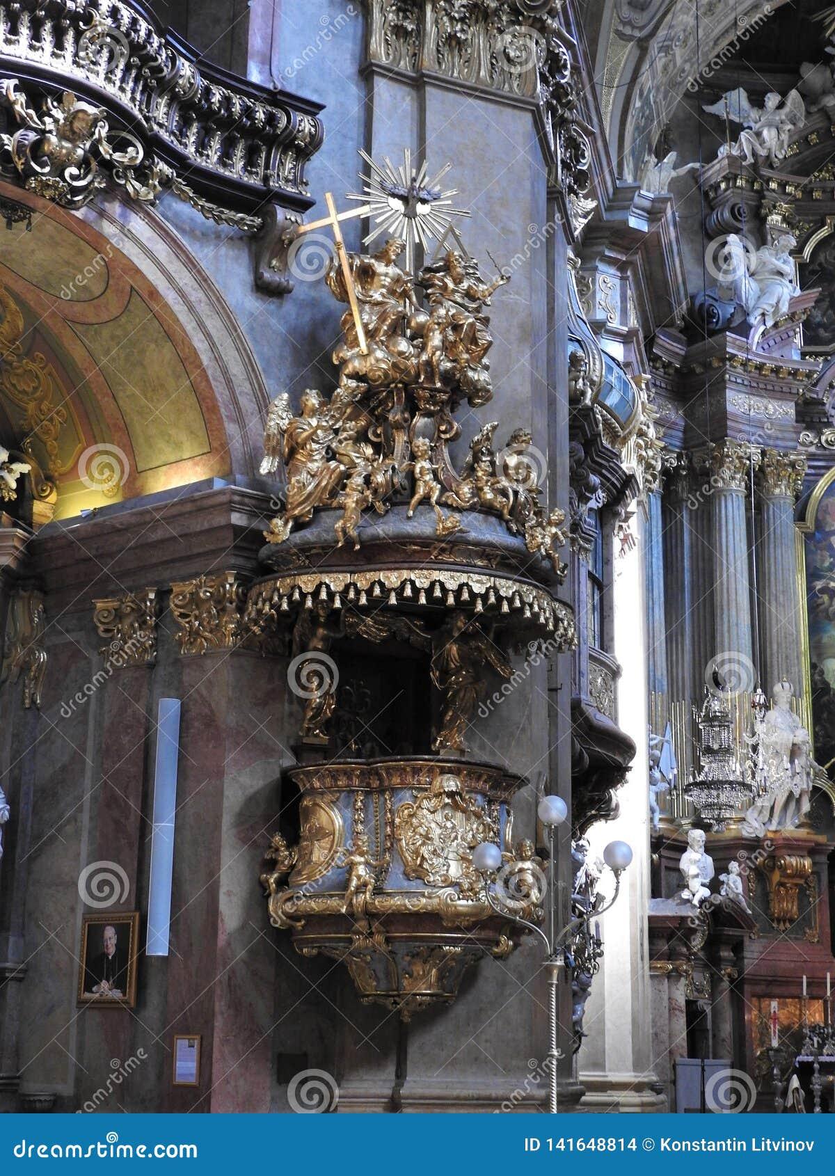 The beautiful interior of St. Peter`s Church Peterskirche , a Baroque Roman Catholic parish church in Vienna, Austria. Inspired b