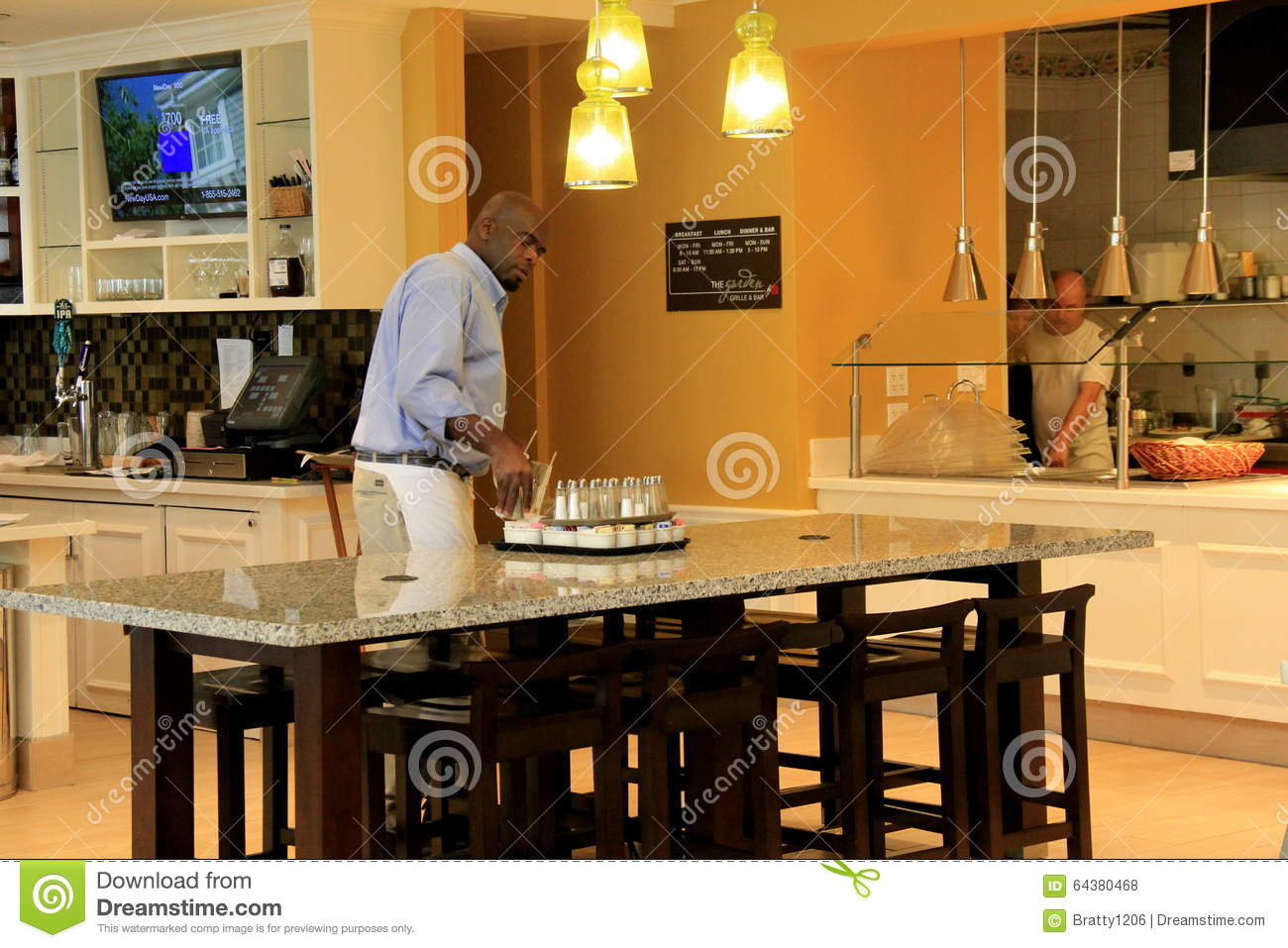 Beautiful Interior With Workers Getting Ready For Breakfast, Buffet ...