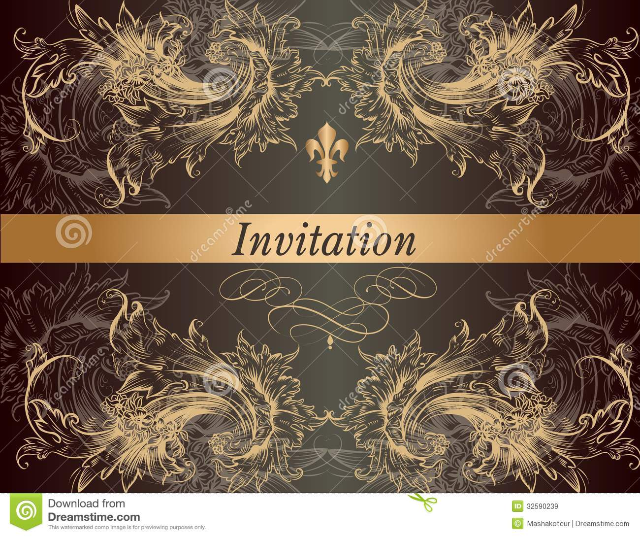 Beautiful Invitation Card In Vintage Classic Style Stock Vector