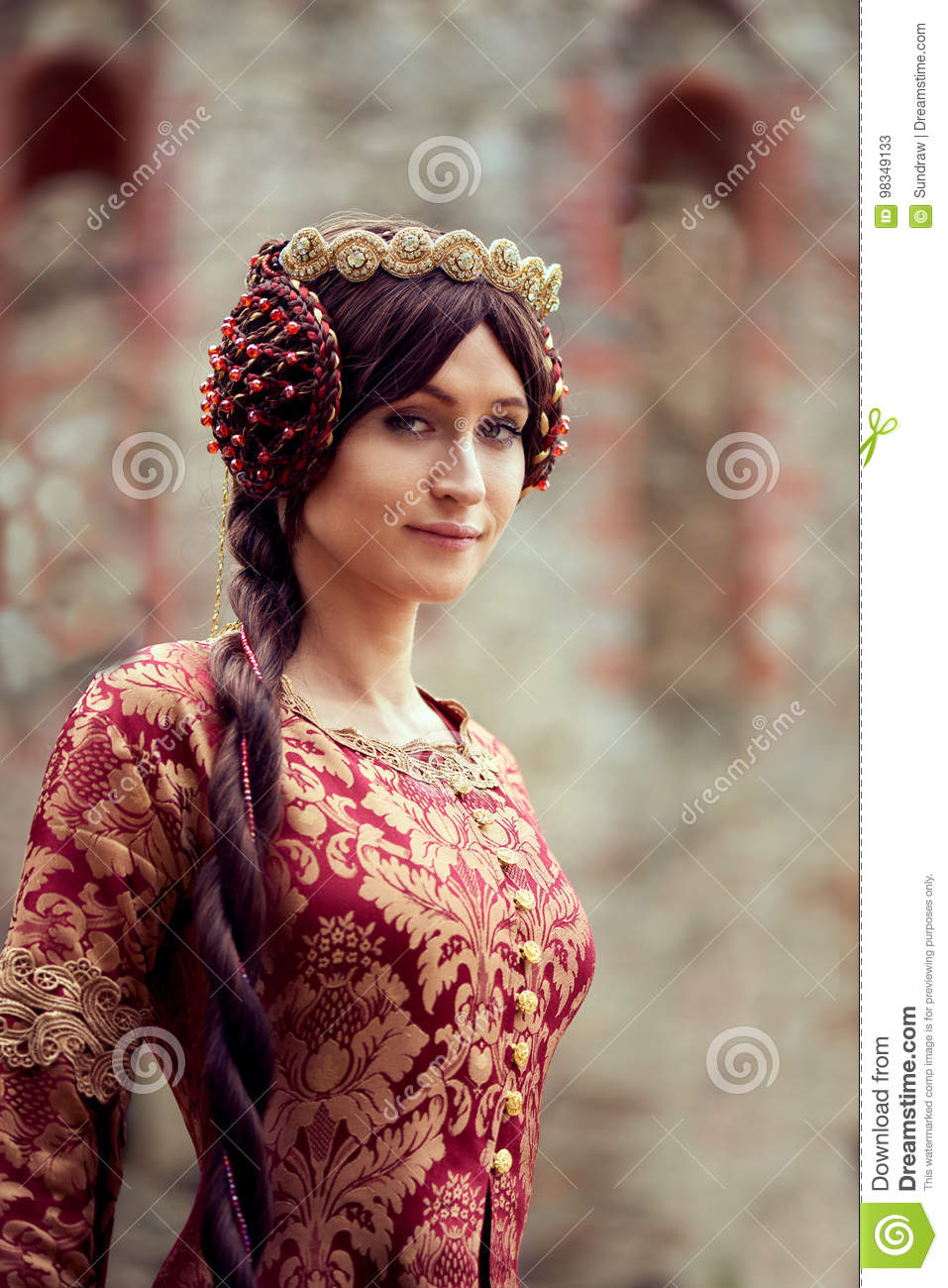 Beautiful Isabella of France, queen of England on Middle Ages period