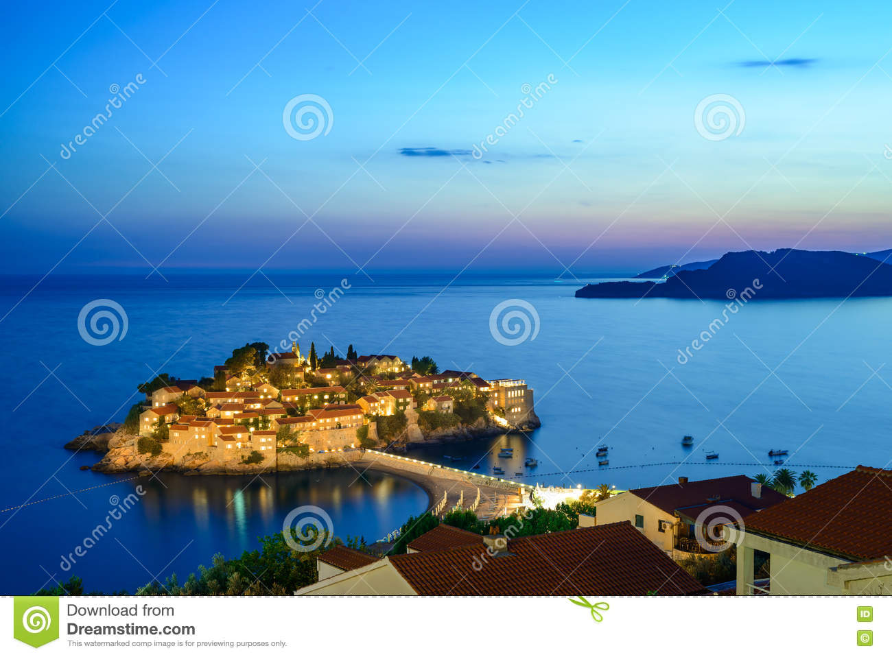 Beautiful Island And Luxury Resort Sveti Stefan At Night ...