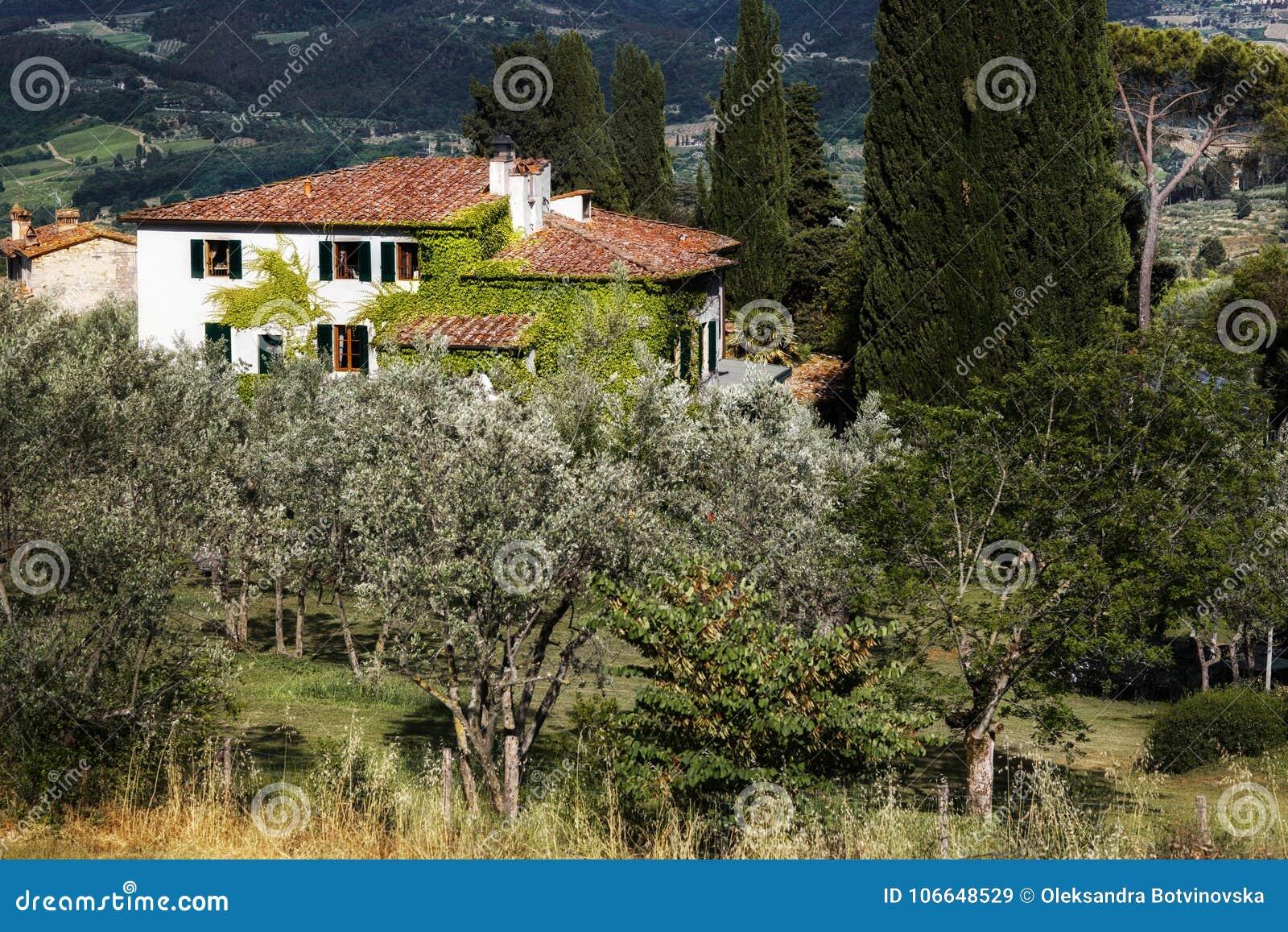 Beautiful Italian Villa In The Green Garden Stock Image - Image of ...