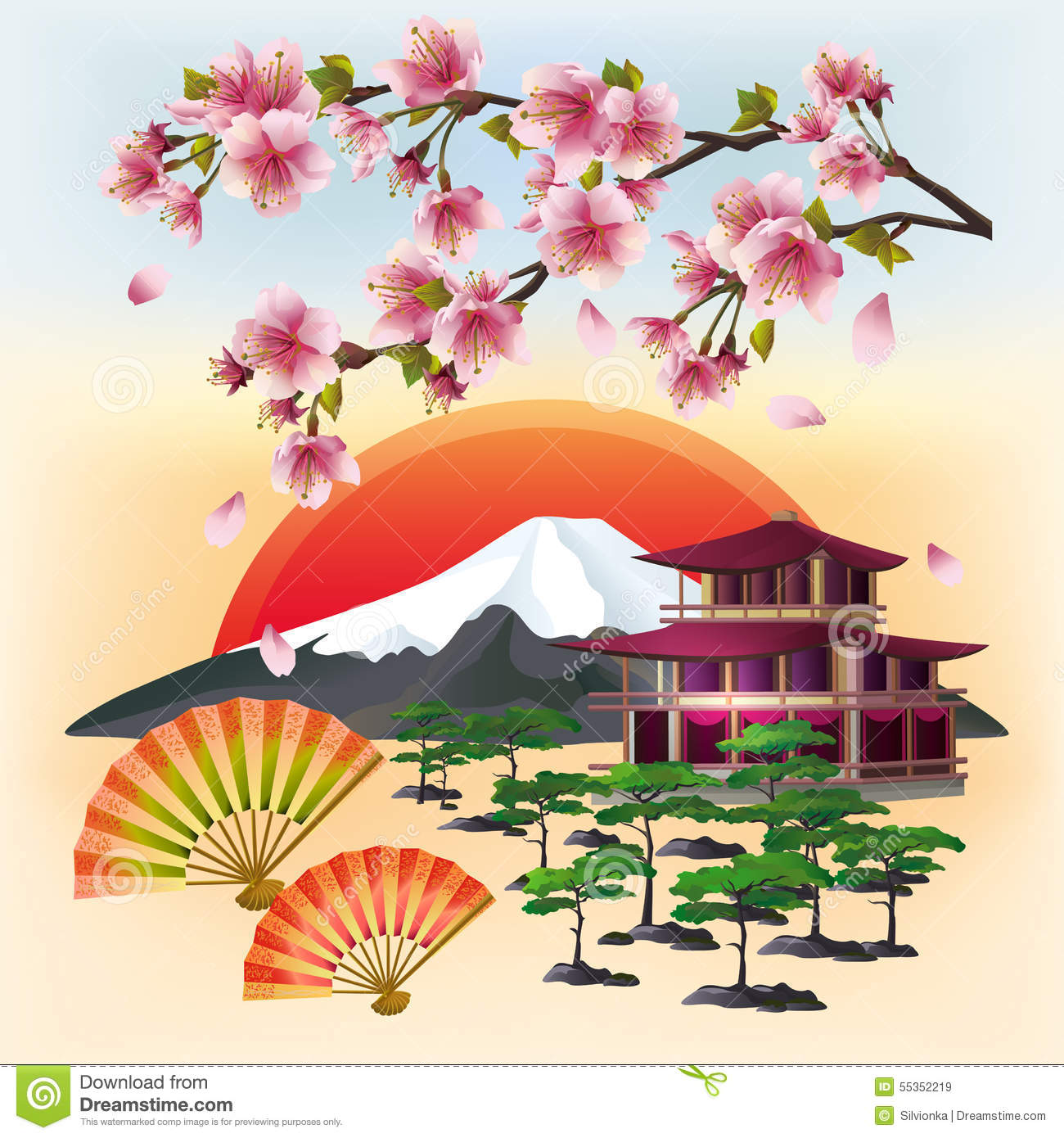 Background With Fan And Sakura Blossom Cartoon Vector