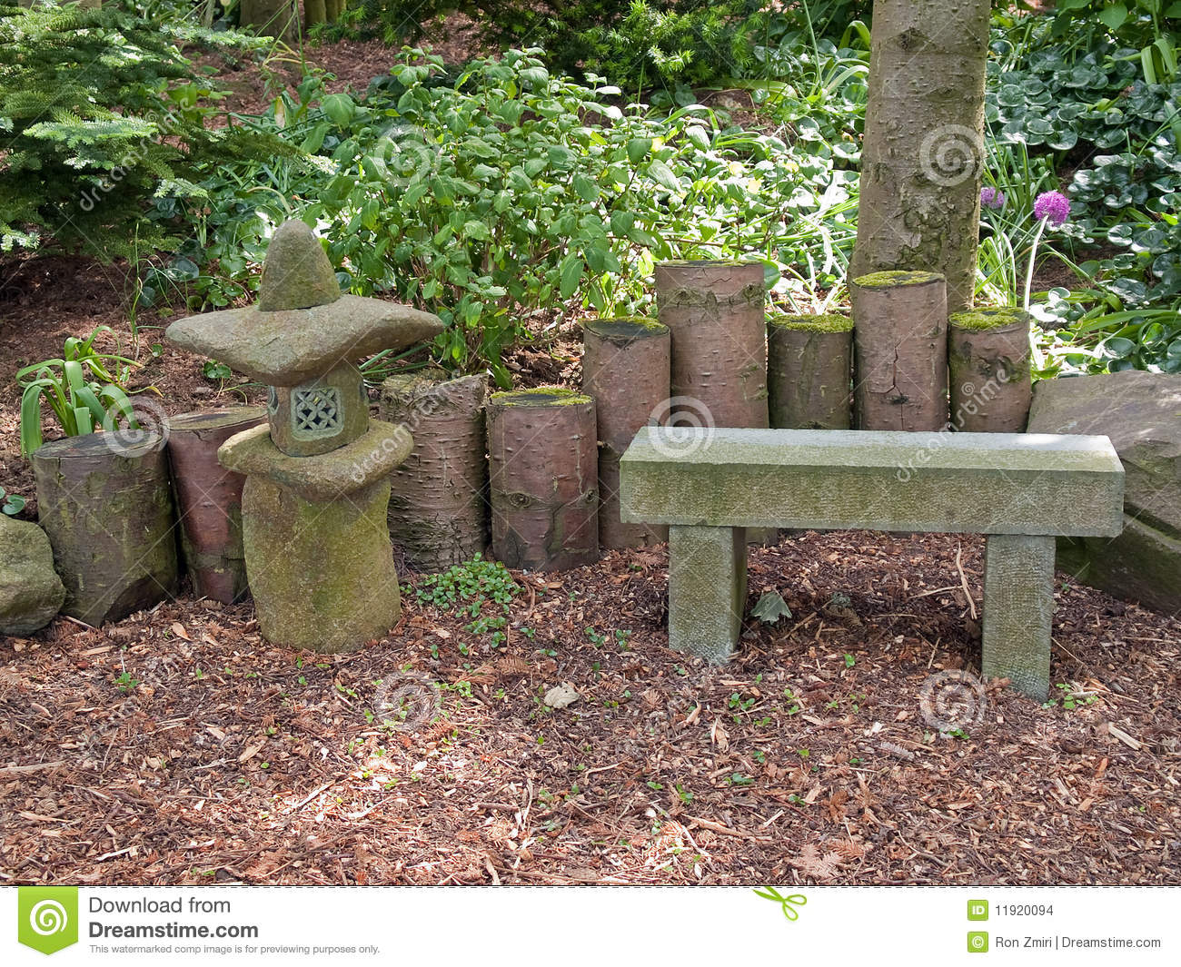 Beautiful Japanese Garden Romantic Seating Corner Stock