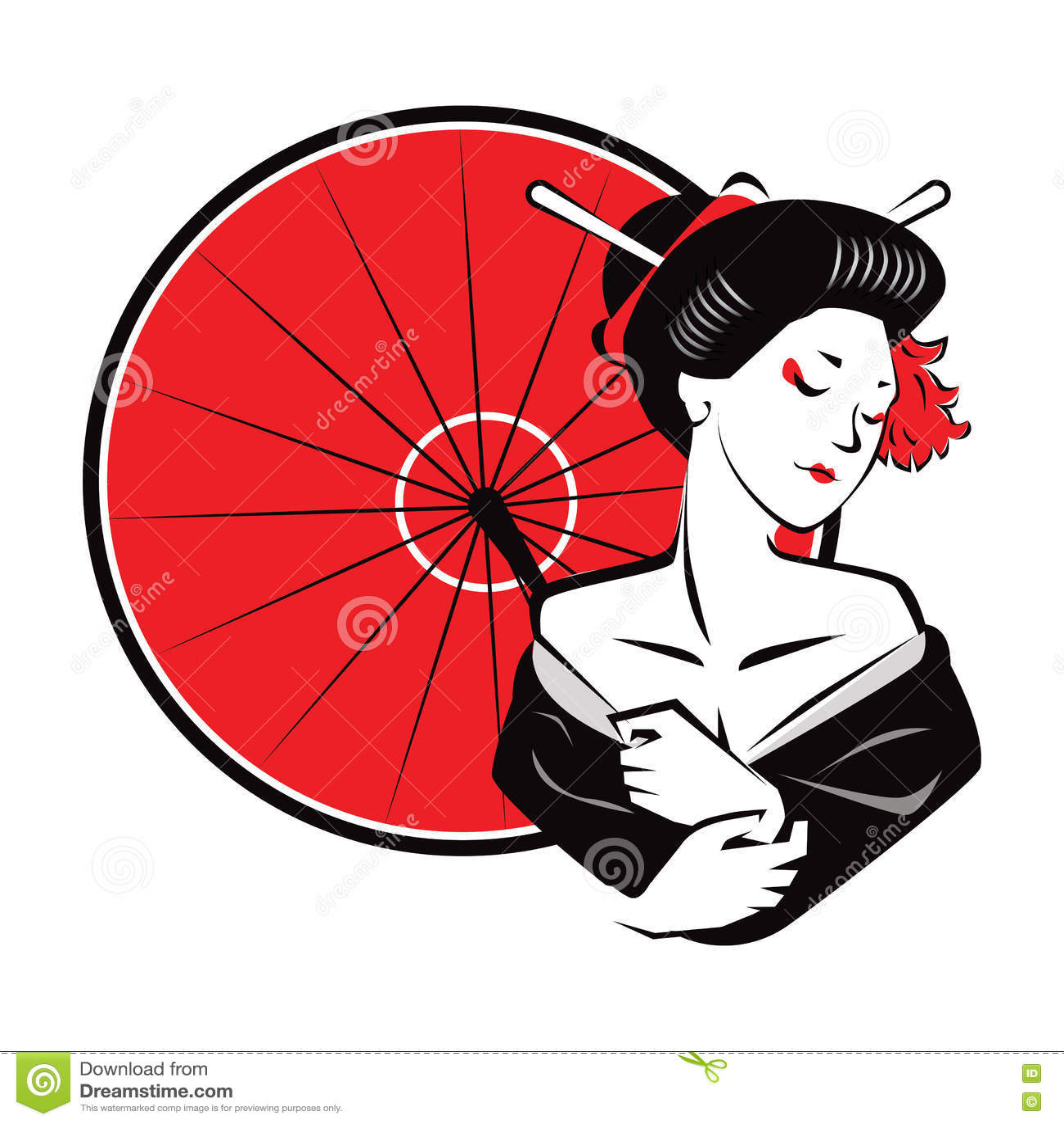 Beautiful Japanesse Modern Exotic Geisha wear red umbrella