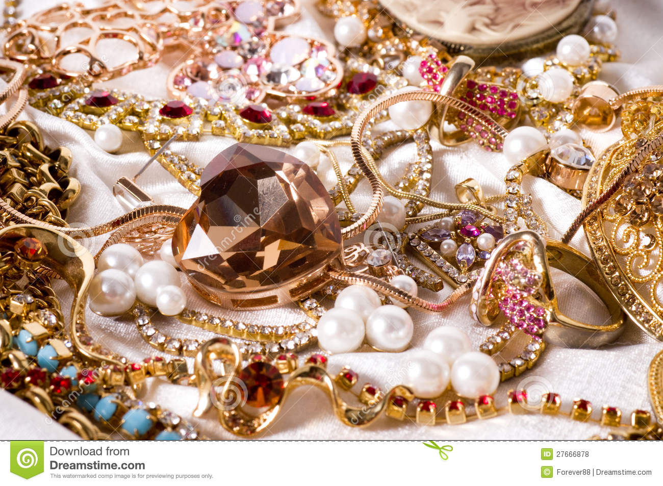 Beautiful Jewelry On Background Stock Photo - Image of brooch ...